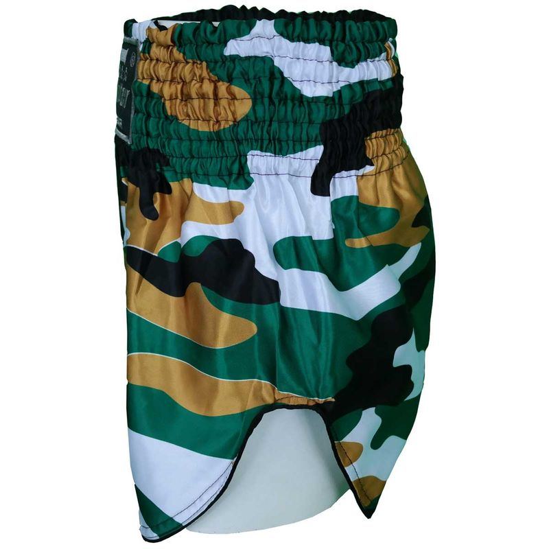 4Fighter Muay Thai Shorts camo negro marrón blanco / altas rendijas – Bild 5