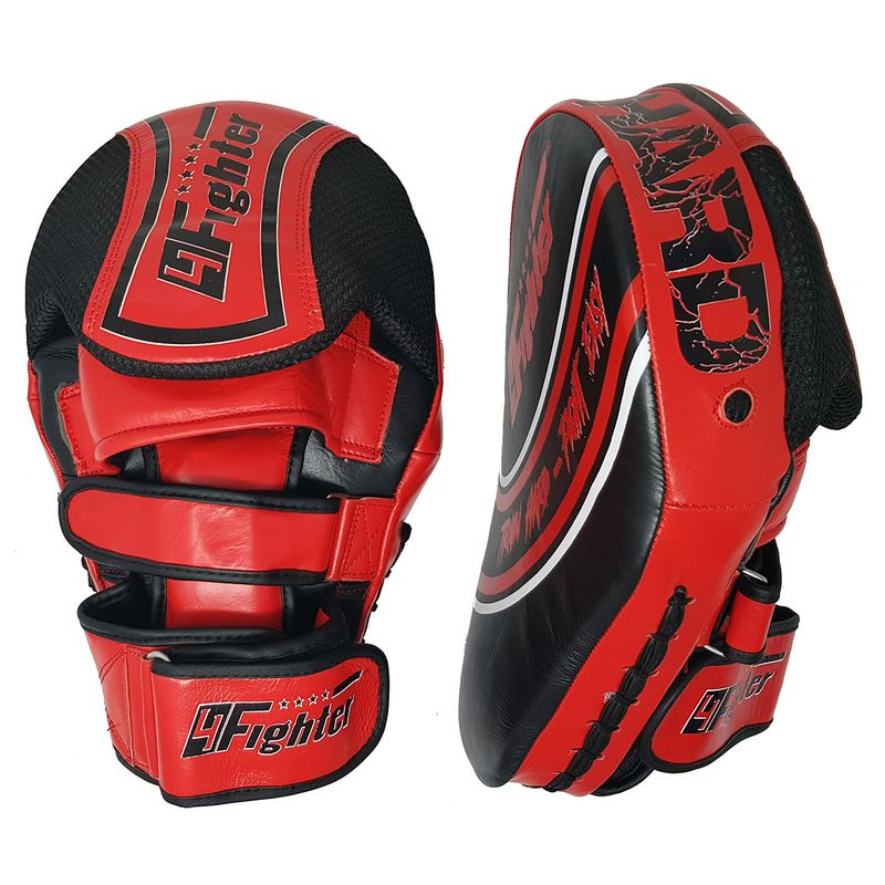 4Fighter Focus Mitts Kick & Punch Leder schwarz-rot – Bild 1