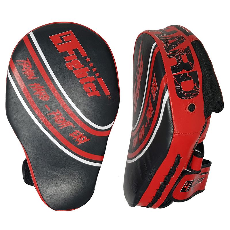 4Fighter Focus Mitts Kick & Punch Leder schwarz-rot – Bild 2