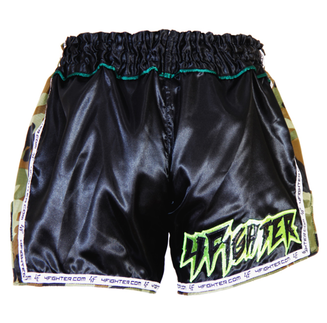 4Fighter SPARTA BLACK Camo Low waist Muay Thai Shorts Satin mit grün braunen Camo Nylon Seiten – Bild 3