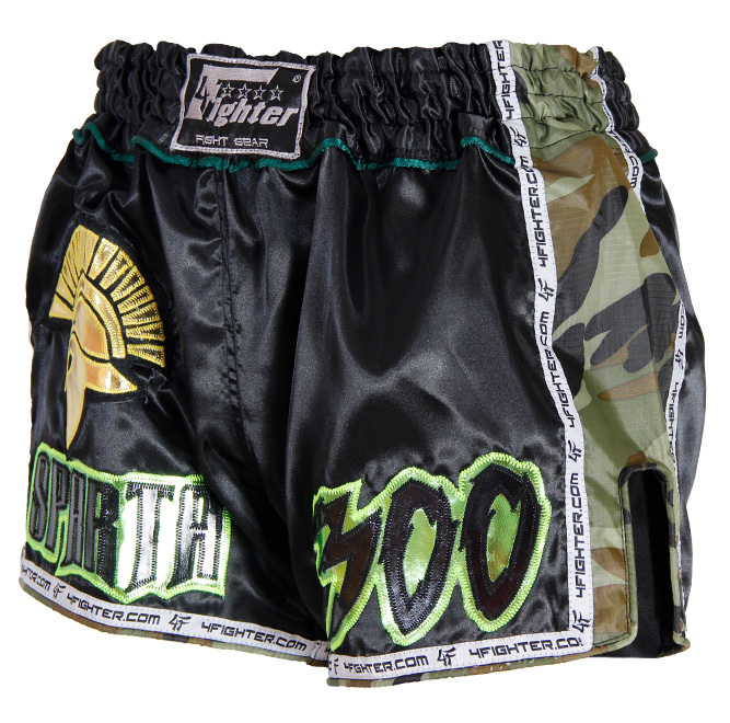 4Fighter SPARTA BLACK Camo Low waist Muay Thai Shorts Satin mit grün braunen Camo Nylon Seiten – Bild 1