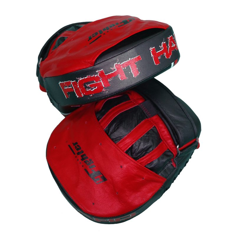4Fighter-PRO FIGHT HARD medium focus pads / pre-curved hand mitts black-red – image 3