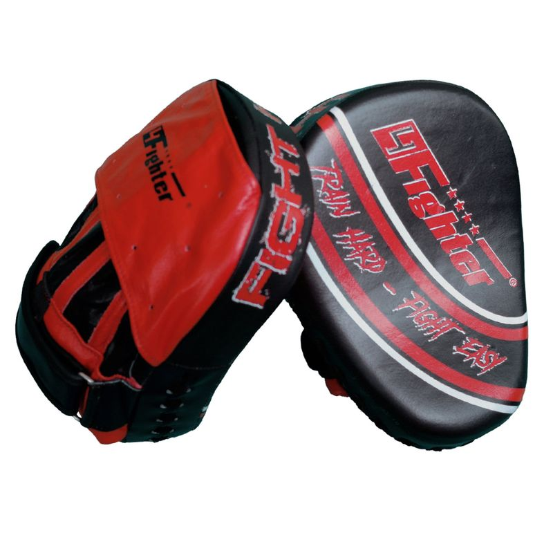 4Fighter-PRO FIGHT HARD medium focus pads / pre-curved hand mitts black-red – image 2