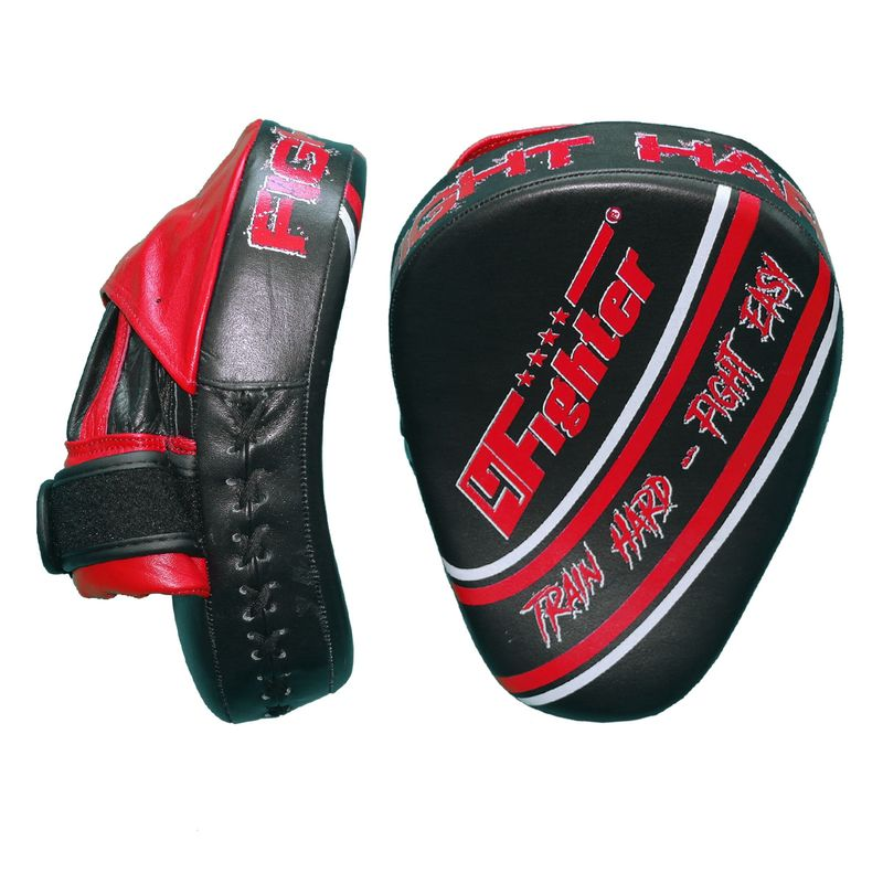4Fighter-PRO FIGHT HARD medium focus pads / pre-curved hand mitts black-red – image 1
