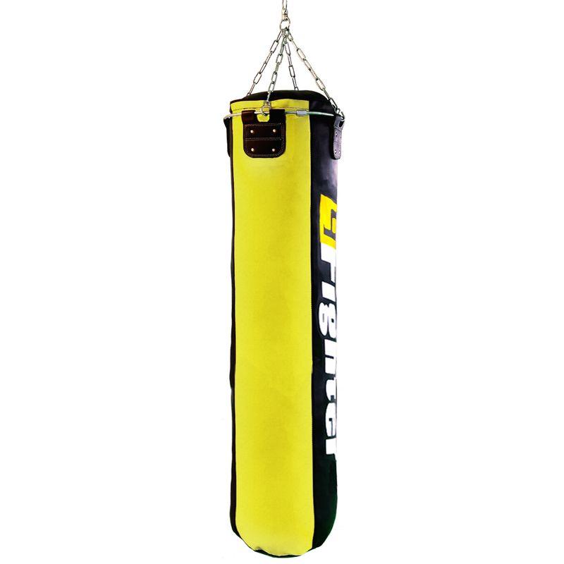 4Fighter Profi Kunstleder Boxsack / Sandsack - schwarz/gelb, gefüllt 180cm – Bild 2