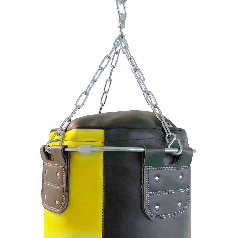 4Fighter Profi Kunstleder Boxsack / Sandsack - schwarz/gelb, gefüllt 180cm – Bild 3