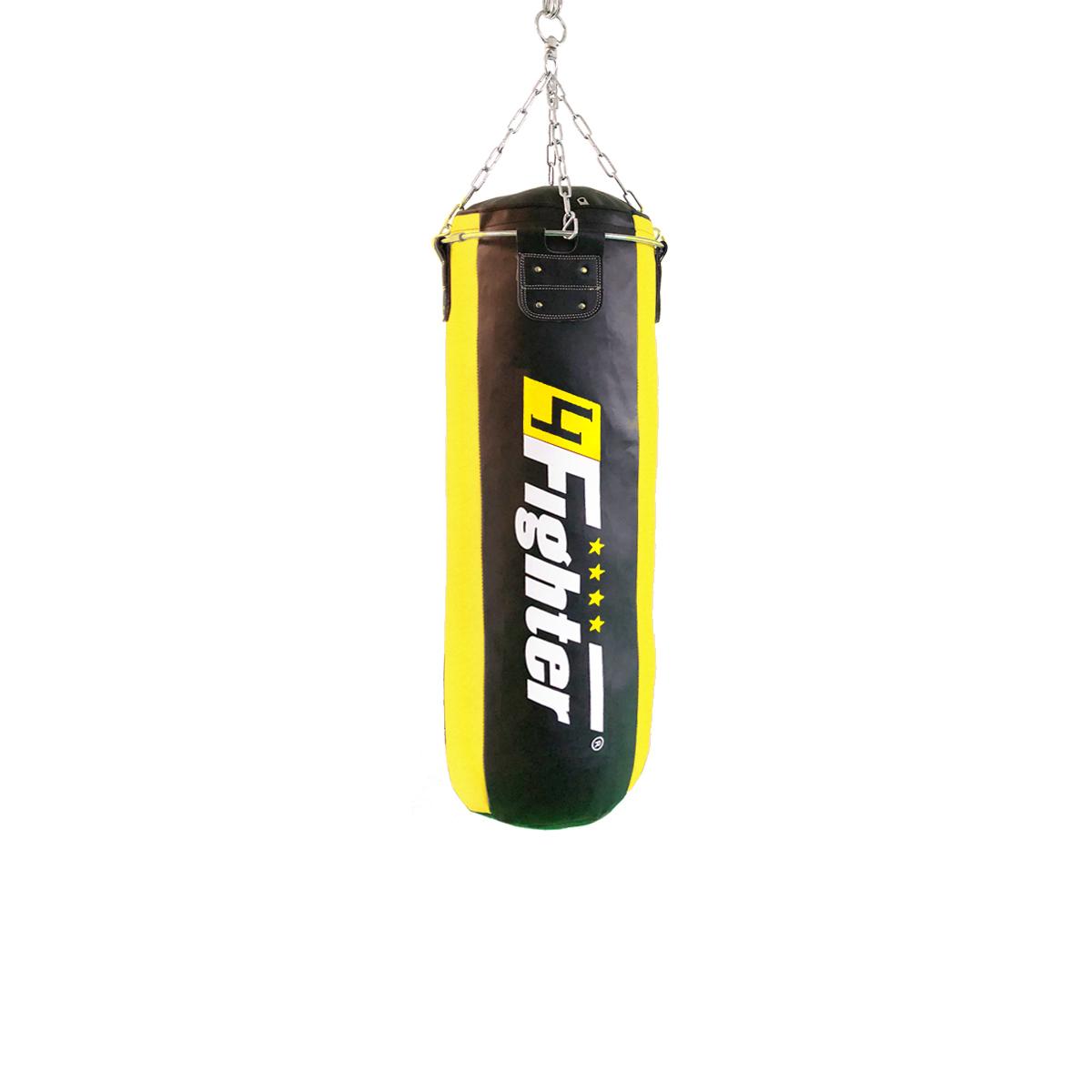 4Fighter Profi Kunstleder Boxsack / Sandsack - schwarz/gelb, gefüllt 100cm