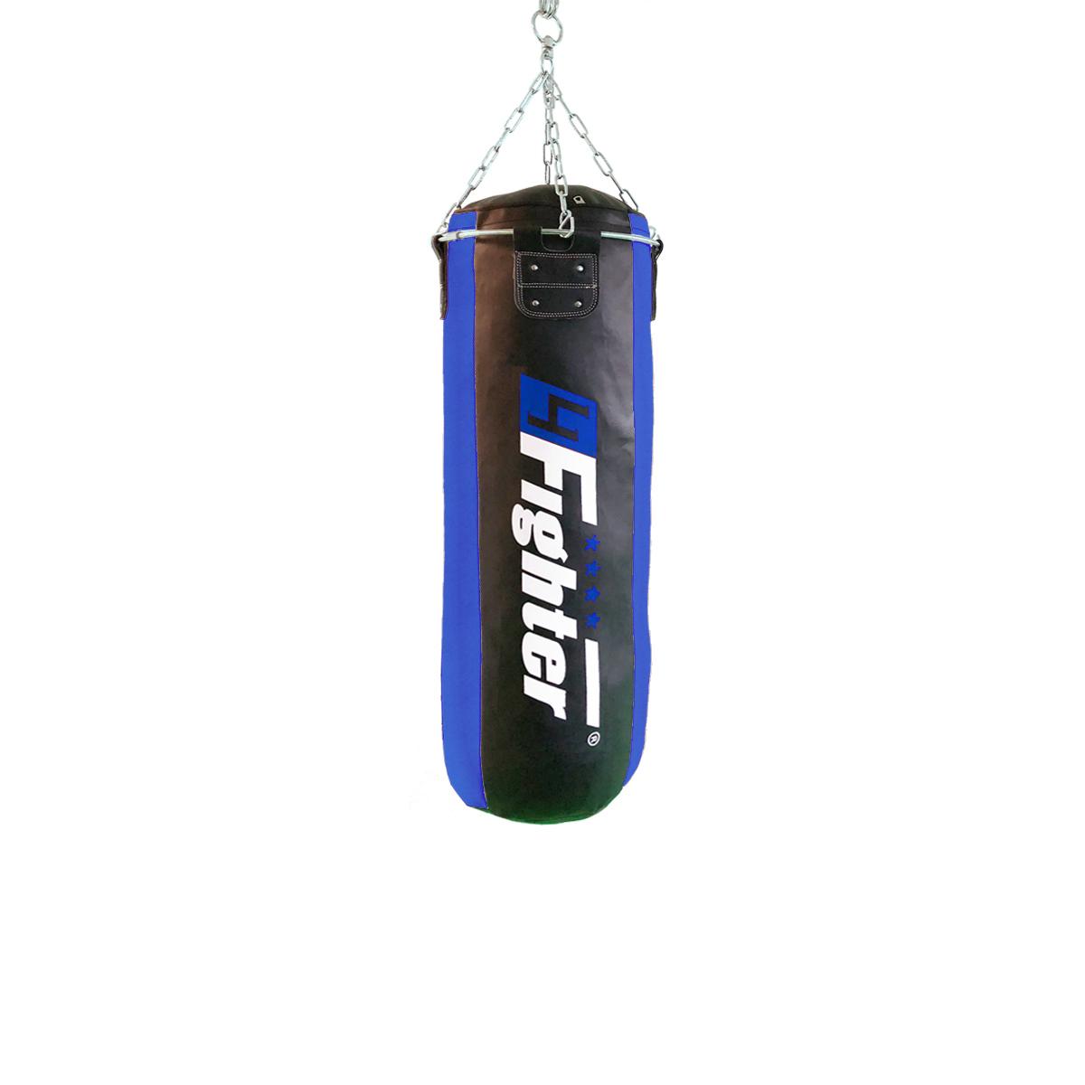 4Fighter Profi Kunstleder Boxsack / Sandsack - schwarz/blau, gefüllt 100cm