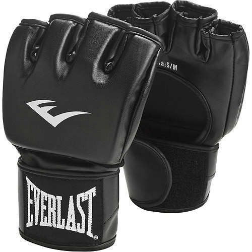Everlast MMA Training Grappling Gloves Open Thumb - Synthetic Leather in Black