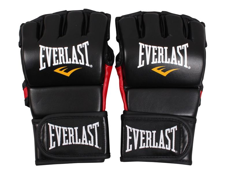 Everlast MMA Combat Gloves Padded Thumb - Skintex leather in matt black / red – image 2