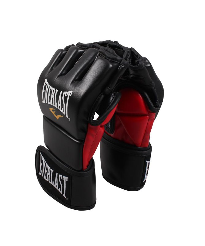 Everlast MMA Combat Gloves Padded Thumb - Skintex leather in matt black / red – image 1