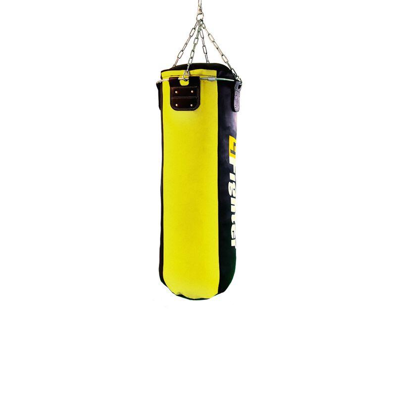 4Fighter Profi Kunstleder Boxsack / Sandsack - schwarz/gelb, ungefüllt 100cm – Bild 2