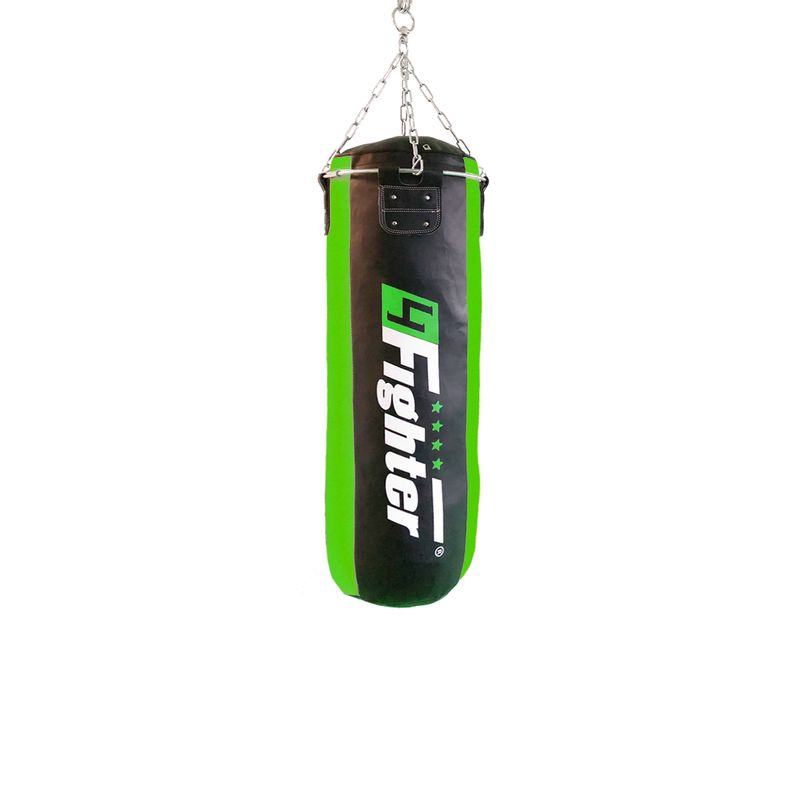 4Fighter professional imitation leather punching bag / sandbag - black / green, unfilled 100cm – image 1