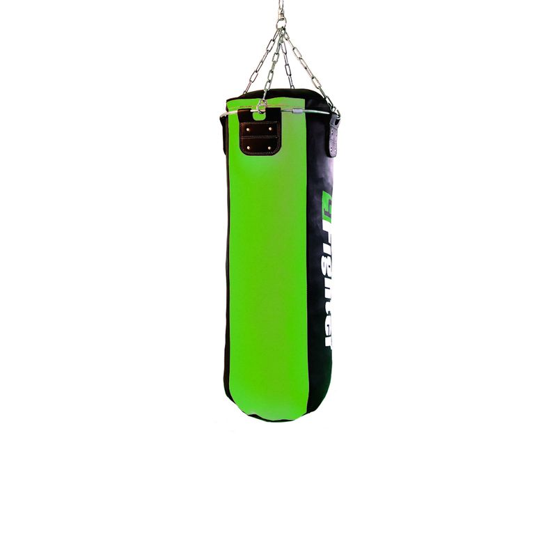 4Fighter professional imitation leather punching bag / sandbag - black / green, unfilled 100cm – image 2