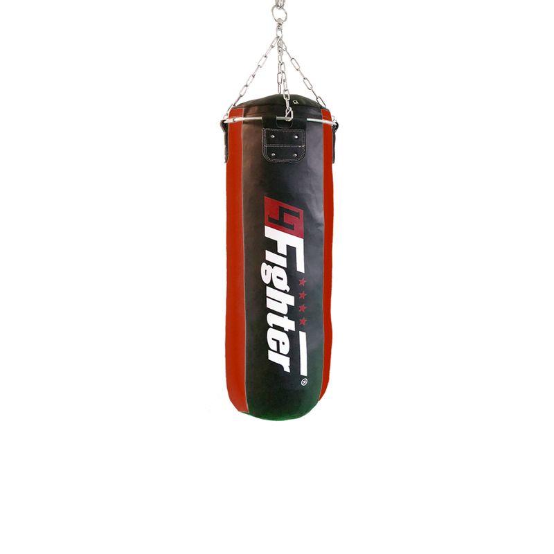 4Fighter professional imitation leather punching bag / sandbag - black / red, unfilled 100cm – image 1
