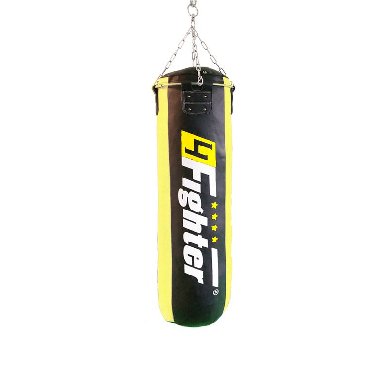 4Fighter professional imitation leather punching bag / sandbag - black / yellow, unfilled 150cm – image 1