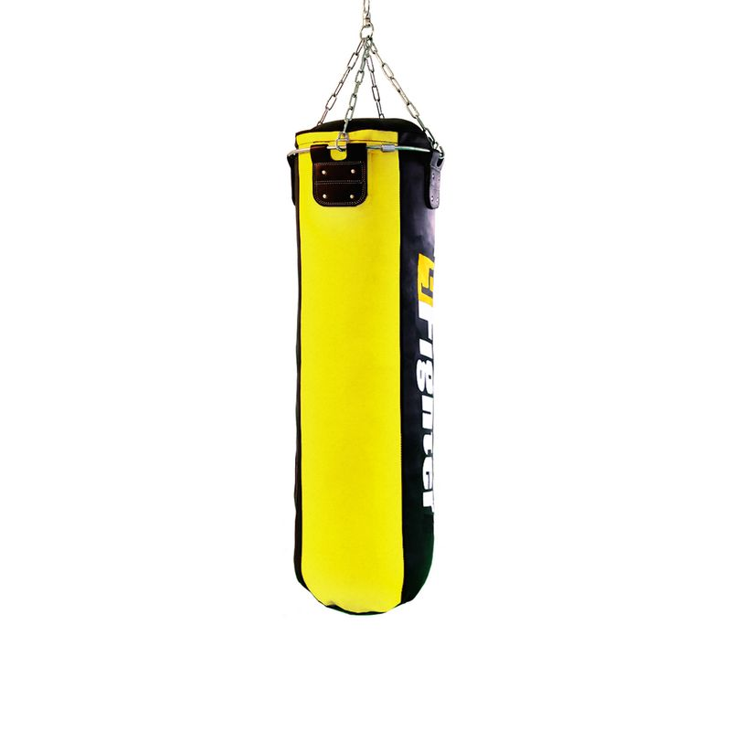 4Fighter professional imitation leather punching bag / sandbag - black / yellow, unfilled 150cm – image 2