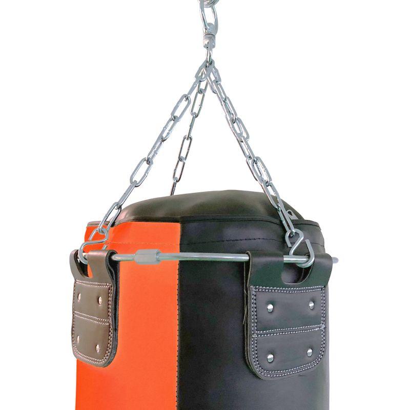 4Fighter Profi Kunstleder Boxsack / Sandsack - schwarz/orange, ungefüllt 150cm – Bild 3