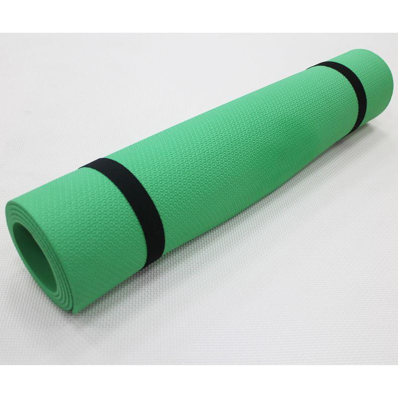 4Fighter Gimnasia Yoga Mat Pilates Mat Fitness Mat, dos bandas elásticas 180 x 60 x 0,4cm verde – Bild 1