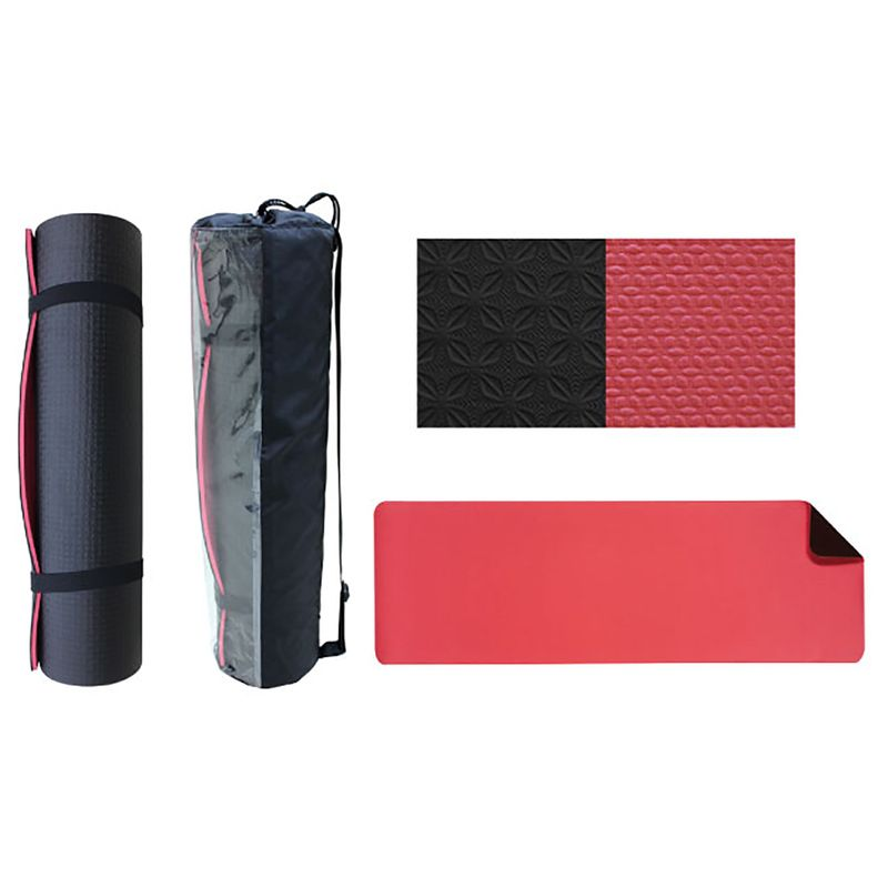 4Fighter professional yoga mat, Pilates mat, fitness mat with carrying bag TPE, 180 x 60 x 0,8cm black-red – image 2