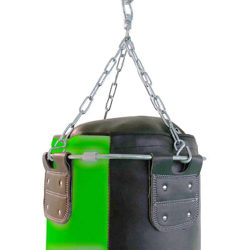 4Fighter professional imitation leather punching bag / sandbag - black / green, unfilled 150cm – image 3