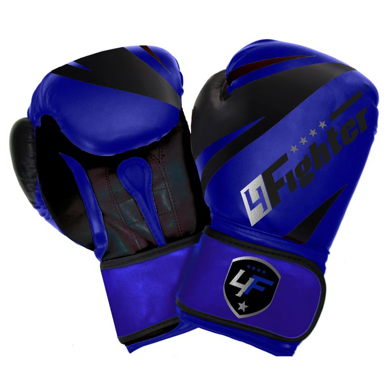 4Fighter Blue-Arrow Cool Line Boxing Gloves blue-black made of synthetic leather for Kids and Adults