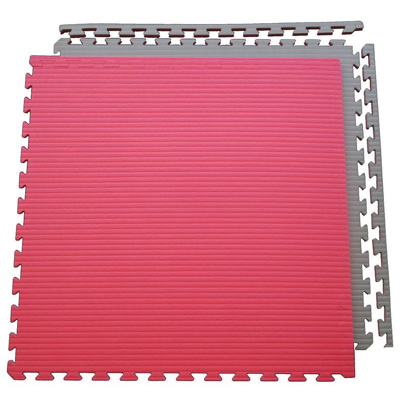 4Fighter 2cm Estera de artes marciales DOUBLE TATAMI roja-gris – Bild 3