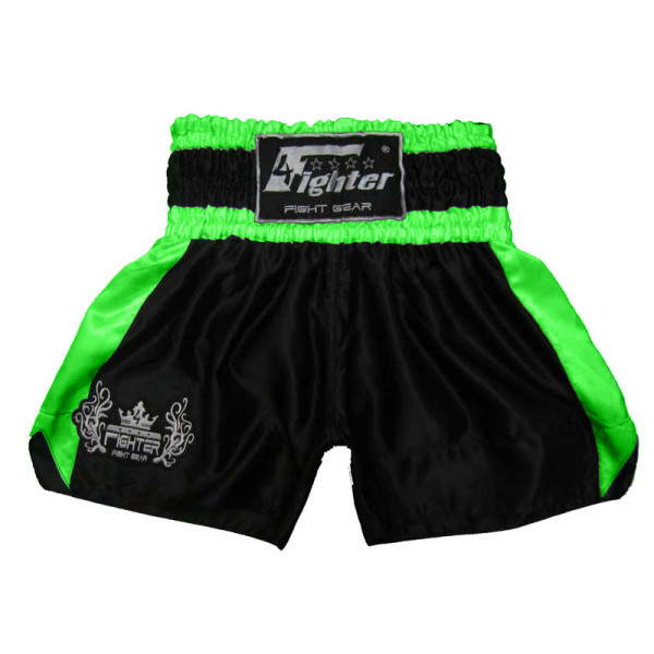 4Fighter Muay Thai Shorts Classic black neon green mit 4Fighter Tribal Logo on leg – image 1
