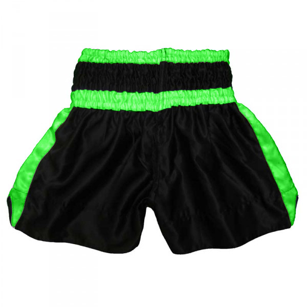 4Fighter Muay Thai Shorts Classic schwarz neon grün mit 4Fighter Tribal Logo am Bein – Bild 2