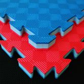 4Fighter 3cm Kampfsportmatte DOUBLE NEW CHECKER Blau-Rot / Zweite Wahl 001