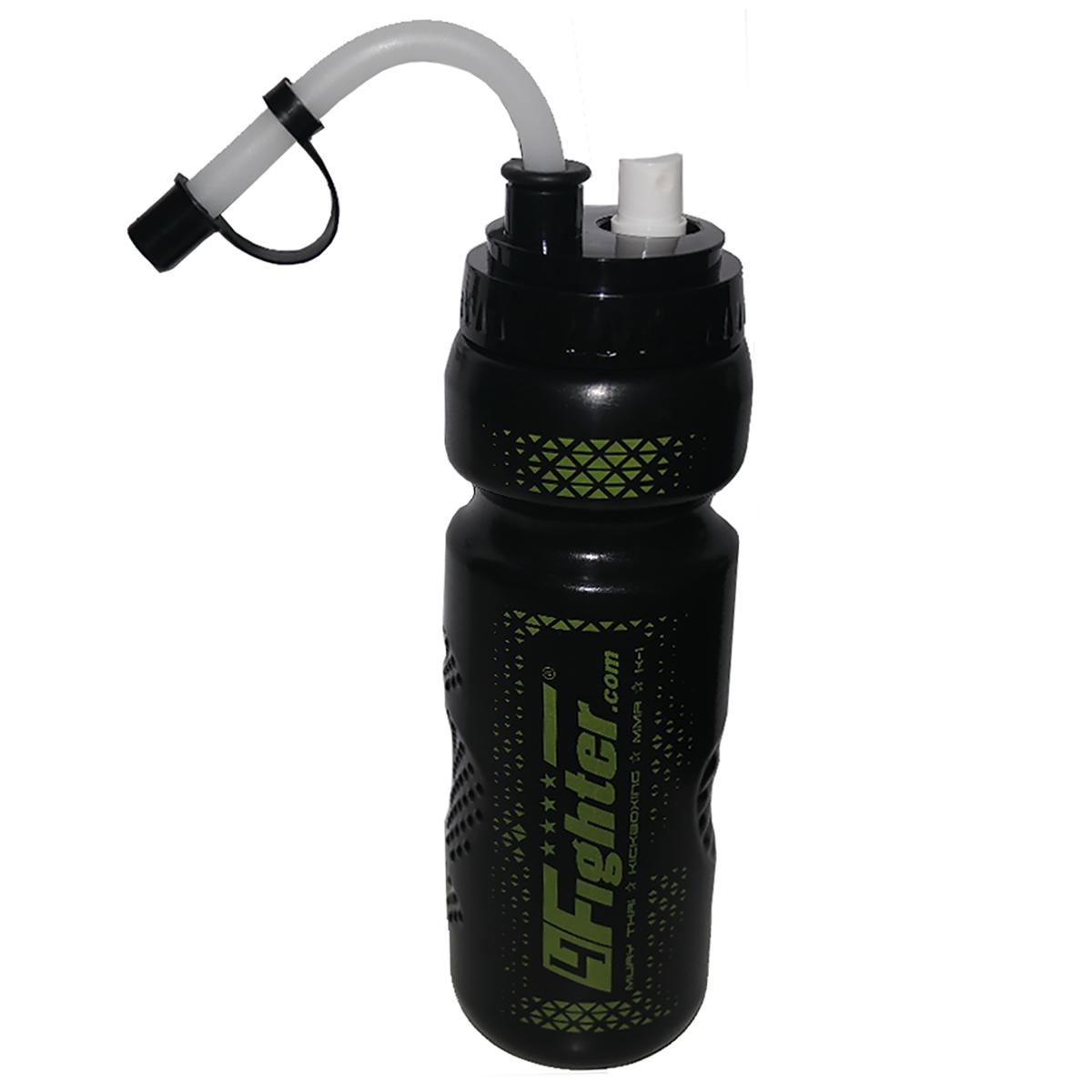 4Fighter Spray Boxing Bottle schwarz-grün 0,8 Liter Sprühflasche Trinkflasche mit Halm