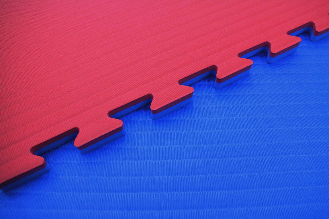 4Fighter 2cm Kampfsportmatte DOUBLE TATAMI blau-rot zweite Wahl