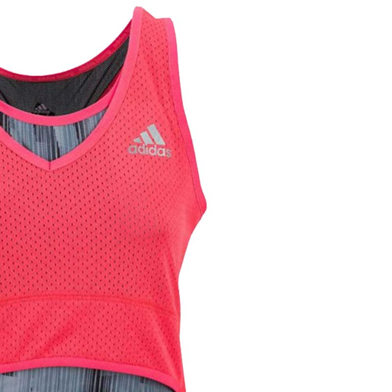 Adidas Pro Stretch Lady Tank - gray / shock red – image 4