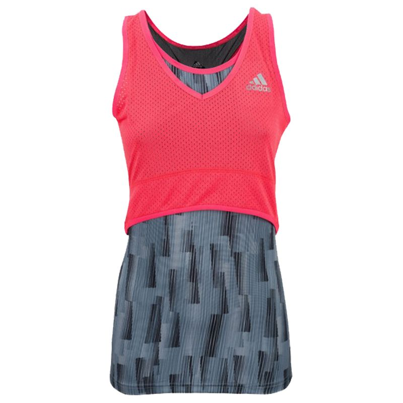 Adidas Pro Stretch Lady Tank - gray / shock red – image 1
