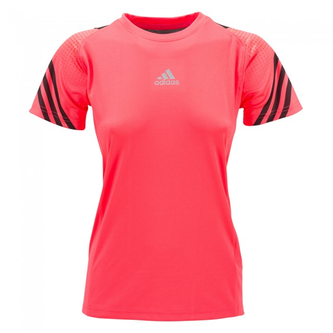 Adidas Pro Sleeve Tee Lady - shock red/black – Bild 1
