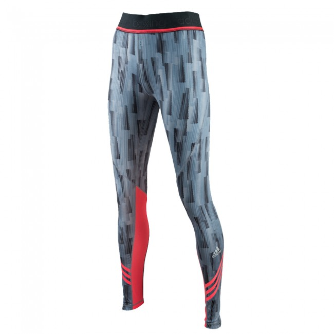 Adidas Pro Legging - gray / shock red – image 1