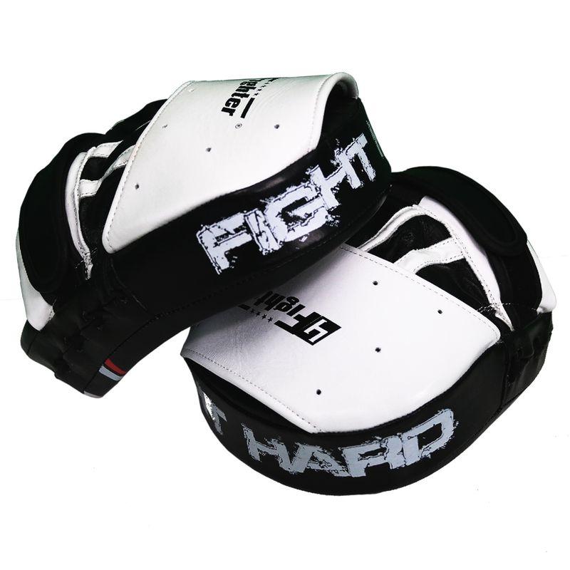 4Fighter-PRO FIGHT HARD almohadillas de enfoque medio / cultivos de mano pre-curvados negro-blanco – Bild 2