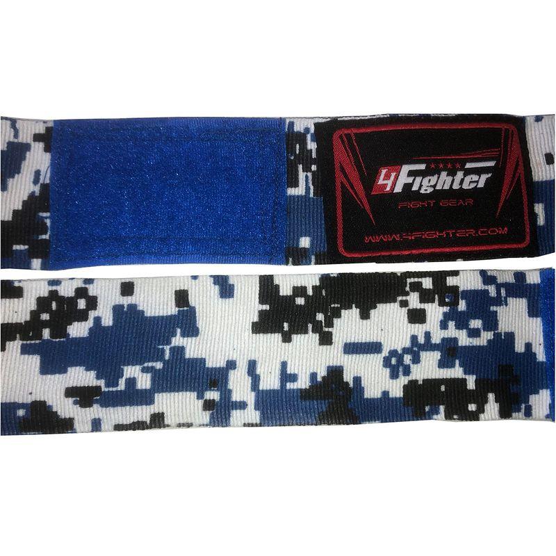 4Fighter Boxbandagen / Hand Bandagen 460cm semi-elastisch pixel camo blau – Bild 2