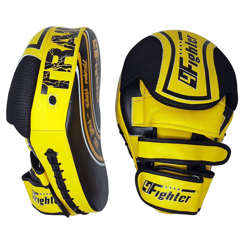 4Fighter Focus Mitts Kick & Punch cuero negro-amarillo – Bild 1
