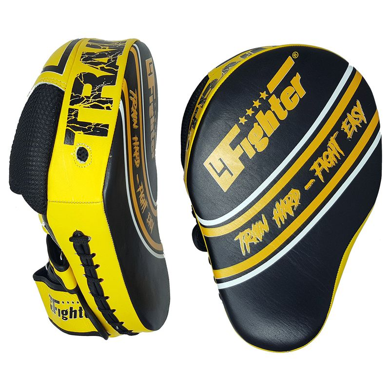 4Fighter Focus Mitts Kick & Punch cuero negro-amarillo – Bild 2