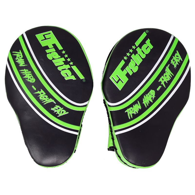 4Fighter Focus Mitts Kick & Punch cuero negro-verde – Bild 3