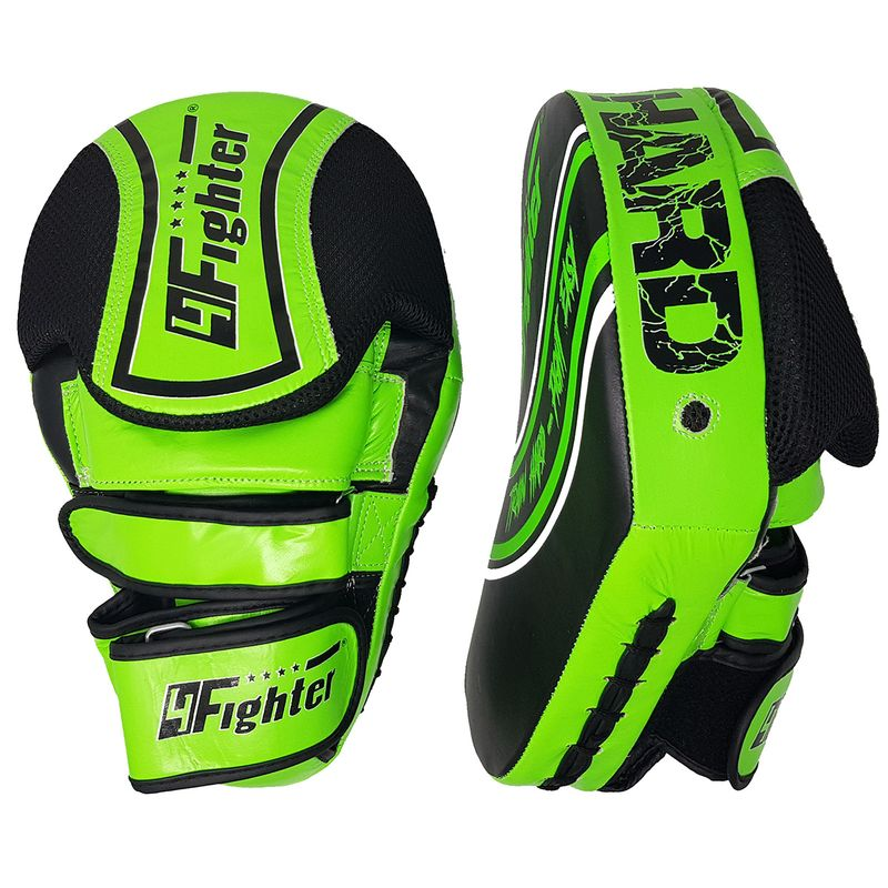 4Fighter Focus Mitts Kick & Punch cuero negro-verde – Bild 1
