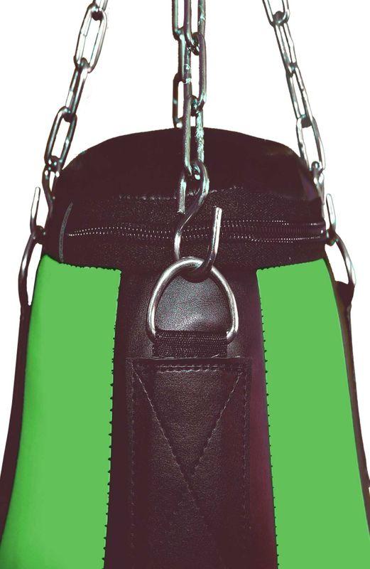 4Fighter Teardrop  ungefüllt Kunstleder Boxsack / Sandsack - schwarz/grün Kunstleder  90cm – Bild 3