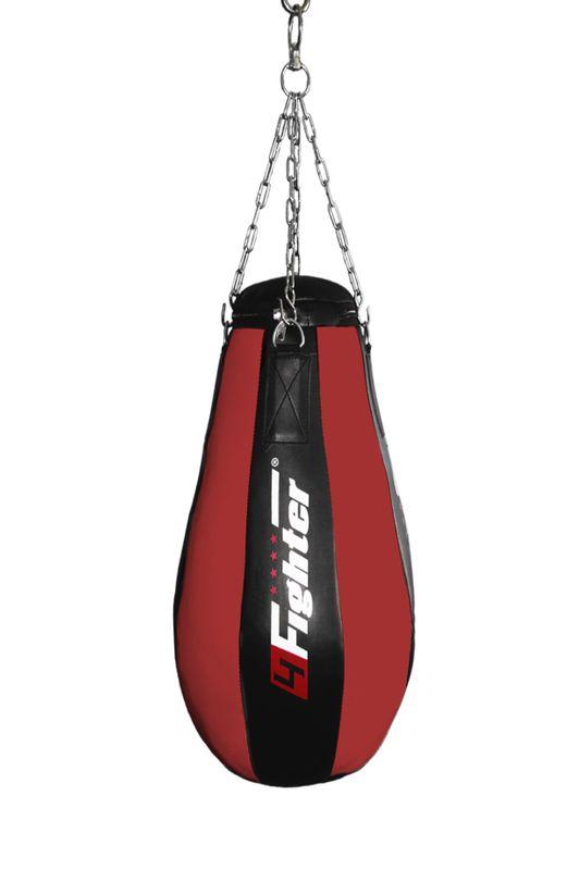 4Fighter professional imitation leather punching bag / sandbag teardrop - black / red, filled 90cm – image 2
