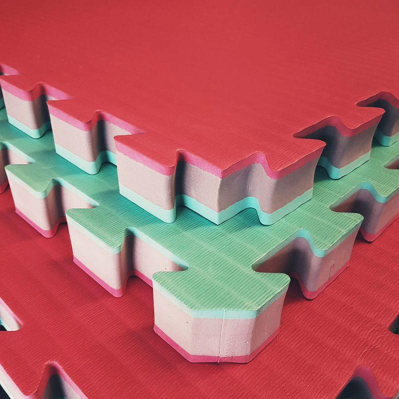 4Fighter 4cm MMA Judo Kampfsportmatte DOUBLE FLEX TATAMI active-grün grau rot / Zweite Wahl – Bild 1