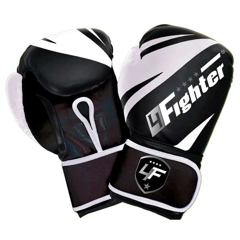 4Fighter White-Arrow Boxing Gloves white-black made of synthetic leather