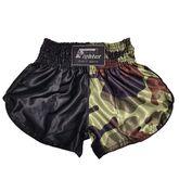 4Fighter Muay Thai Shorts Classic schwarz camouflage braun grün mit hohen Schlitzen 001