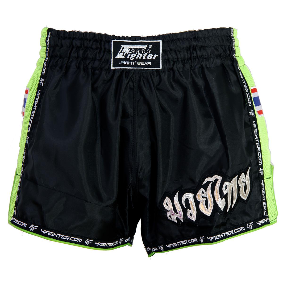 4Fighter Low Waist Muay Thai / Kickboxhose schwarz Nylon mit grünem Mesh