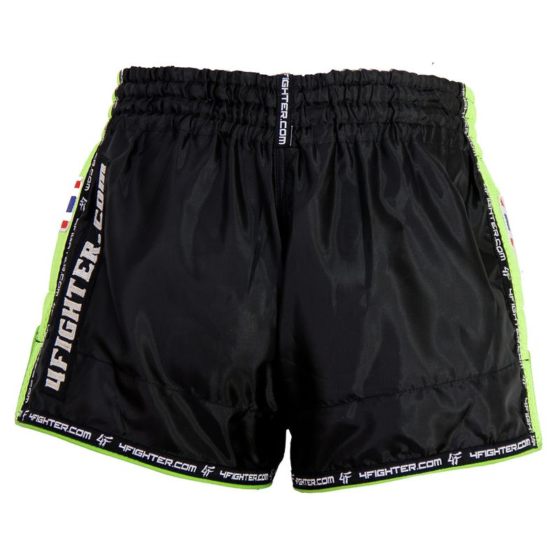 4Fighter Low Waist Muay Thai / Kickboxing pants black nylon with green Mash – image 2