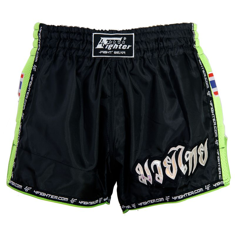 4Fighter Low Waist Muay Thai / Kickboxing pants black nylon with green Mash – image 1